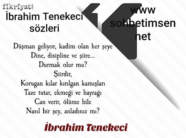 İbrahim Tenekeci Sözleri
